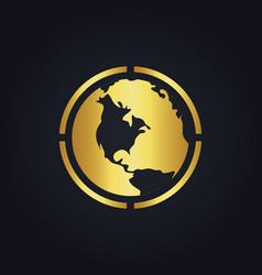 earth globe round gold logo vector image vector image