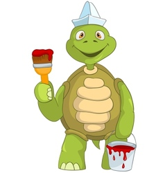 Funny Turtle Painter vector image vector image