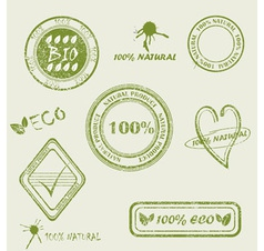 Green grunge rubber stamp set vector image