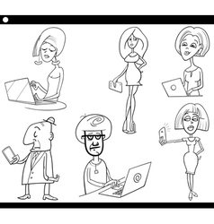 people and technology cartoon set vector image