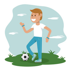Physical education - boy playing soccer sport vector
