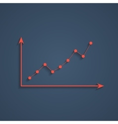 red graph with shadow vector image
