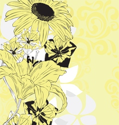 yellow floral background vector image