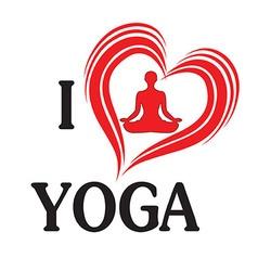 Yoga love heart of silhouette vector image