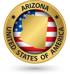 Arizona state gold label with state map vector image