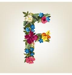F letter Flower capital alphabet Colorful font vector image