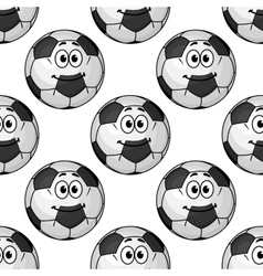 Seamless pattern of cartoon soccer balls or vector image vector image