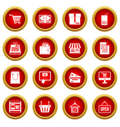 Shopping icon red circle set vector