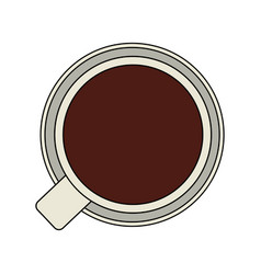 color graphic top view cup of coffee vector image vector image