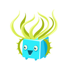 cute fantastic turquoise plant character square vector image vector image