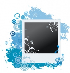 grunge winter polaroid with snowflakes vector image vector image