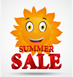 summer sale with cute sun cartoon vector image