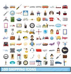 100 shipping icons set cartoon style vector