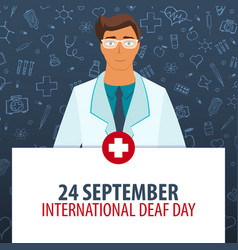 24 september international deaf day medical vector