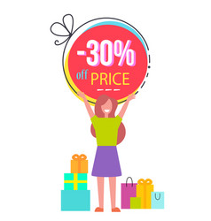 30 price off promotional poster with happy woman vector
