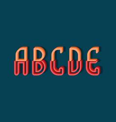 A b c d e orange red 3d letters two parts vector