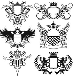 abstract flourished heraldry crest shields vector image