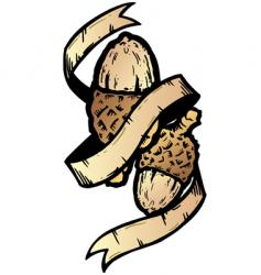 acorn banner tattoo style illustration vector image