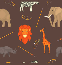 africa seamless pattern with jungle animals vector image