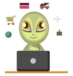 Alien working on laptop on white background vector