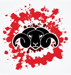 Angry black sheep face head with big horn vector