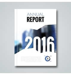 Annual report design template with blur background vector image