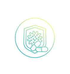 Antibiotic resistant virus line icon vector