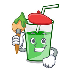 artist green smoothie character cartoon vector image