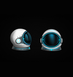astronaut helmet with clear glass and blue light vector image