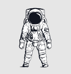astronaut on isolated background in black and vector image