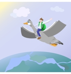 Back to Knowledge Flight vector image