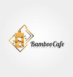 Bamboo cafe and restaurant logo design vector