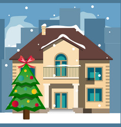 beautiful snowy christmas home and tree vector image