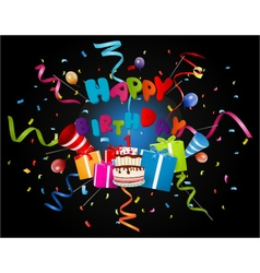 Birthday background with confetti and cake vector