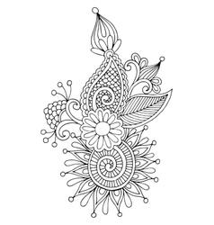 black line art ornate flower design ukrainian vector image