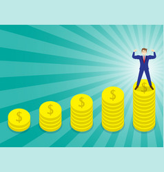 businessman standing on pinnacle of coins vector image