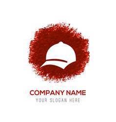 cap icon - red watercolor circle splash vector image