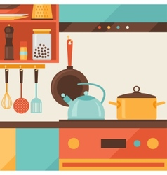 Card with kitchen interior and cooking utensils vector