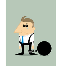 Cartoon businessman locked in a debt ball vector image