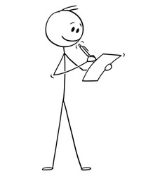 cartoon smiling man or businessman writing vector image