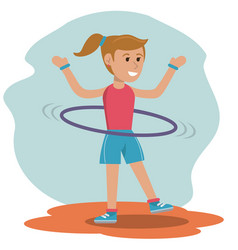 Character girl doing hula hoops play vector