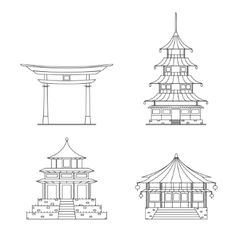 Chinees Building Thin Line Set vector