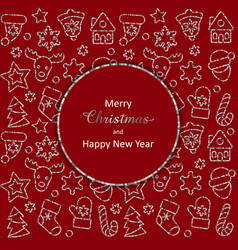 christmas and new year greeting card with silver vector image
