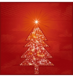 Christmas card with one tree and many stars vector