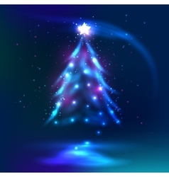 Christmas tree dark glowing background vector image