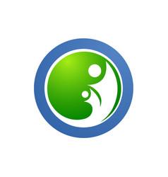 circle human family care love logo and symbols vector image