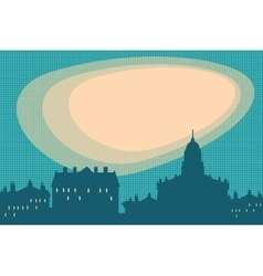 City silhouette retro background vector image