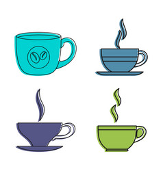 coffee cup icon set color outline style vector image
