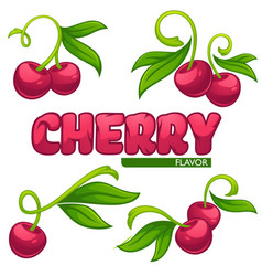 Collection juice stickers and cherry berry vector