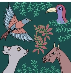 Collection of animals birds and plants vector image